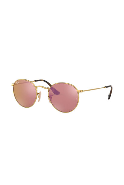 22 Ray Ban Round Shiny Gold Copper Flash