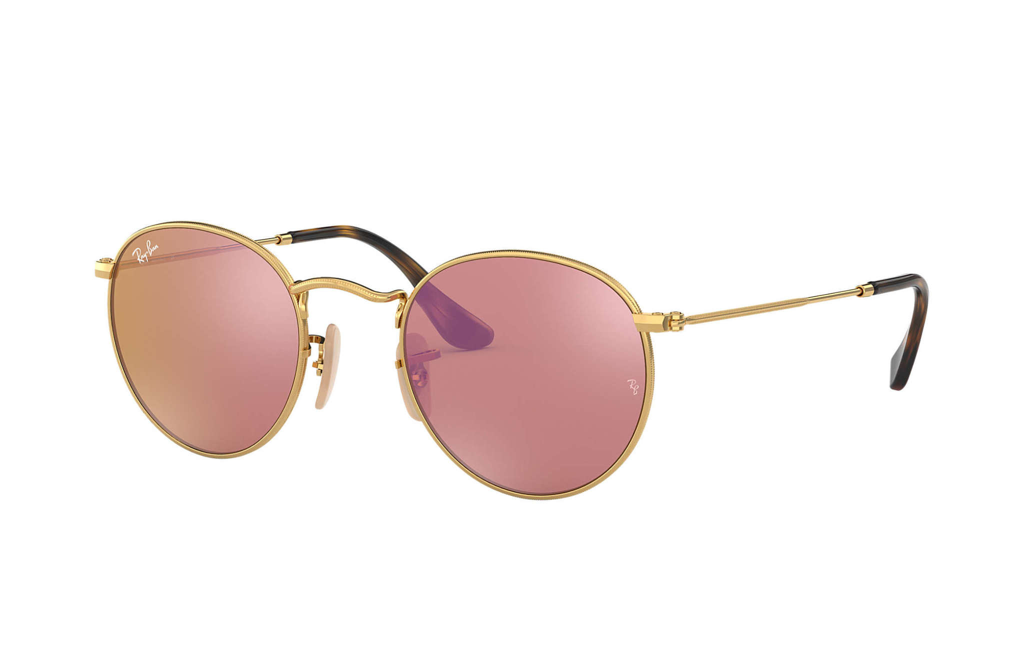 22 Ray Ban Round Shiny Gold Copper Flash-1