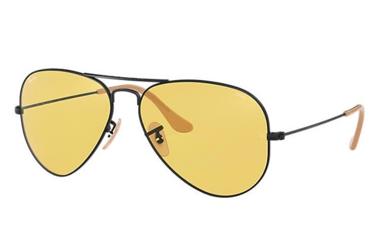 82 Ray Ban Aviator Matte Black/Yellow-1
