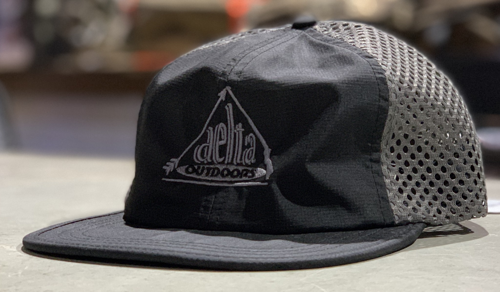 Delta Outdoors Crushable Black/Gray Cap-1