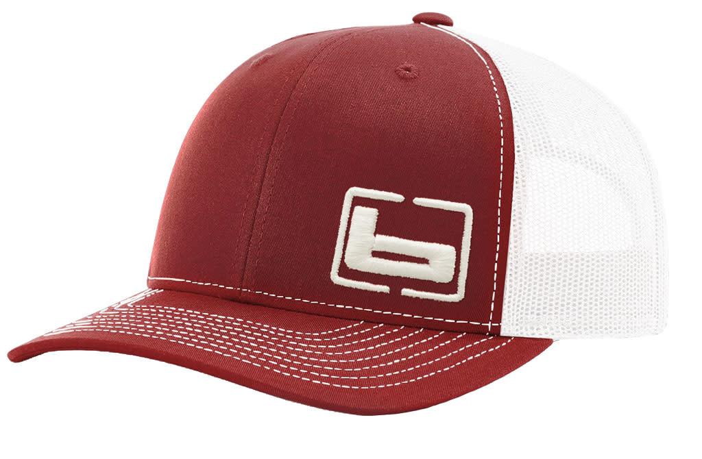 Banded Trucker Cap Red/White Mesh-1