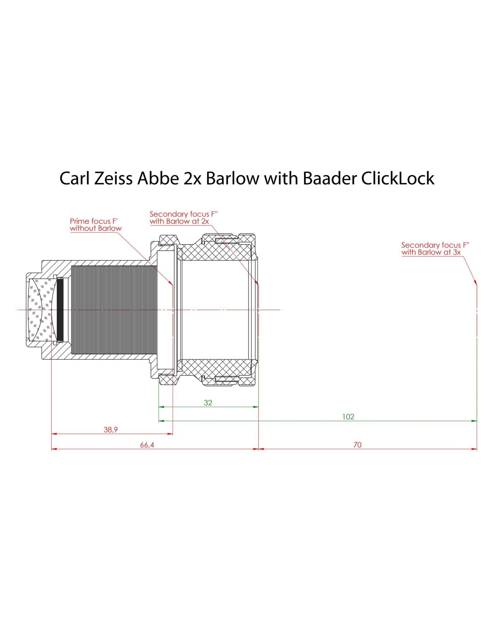 "Baader Planetarium Carl Zeiss 1¼"" Abbe Barlow lens 2x"