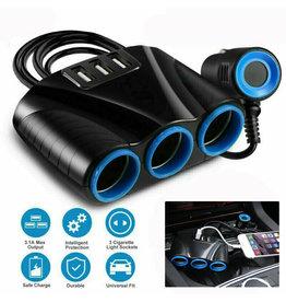Cigarette Lighter Socket 3 USB Charger Splitter 12V Outlet Power Adapter Car