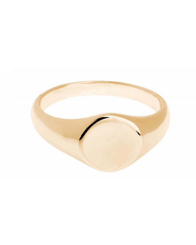 Shashi Inc. Signet Ring Yellow-Gold Size 3