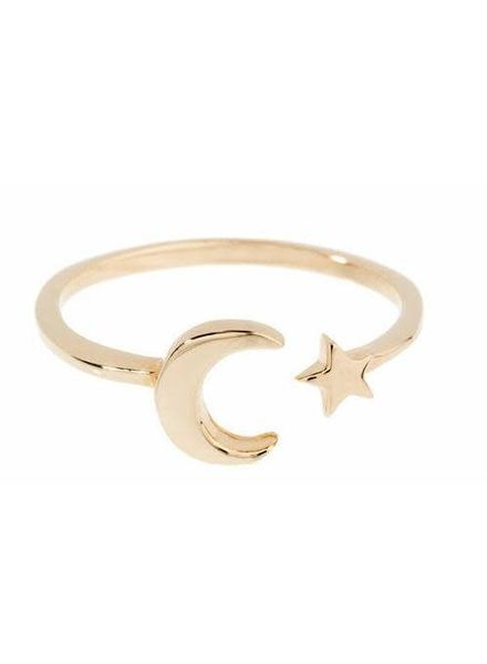 Shashi Inc. Moon Star Ring Yellow-Gold Size 8