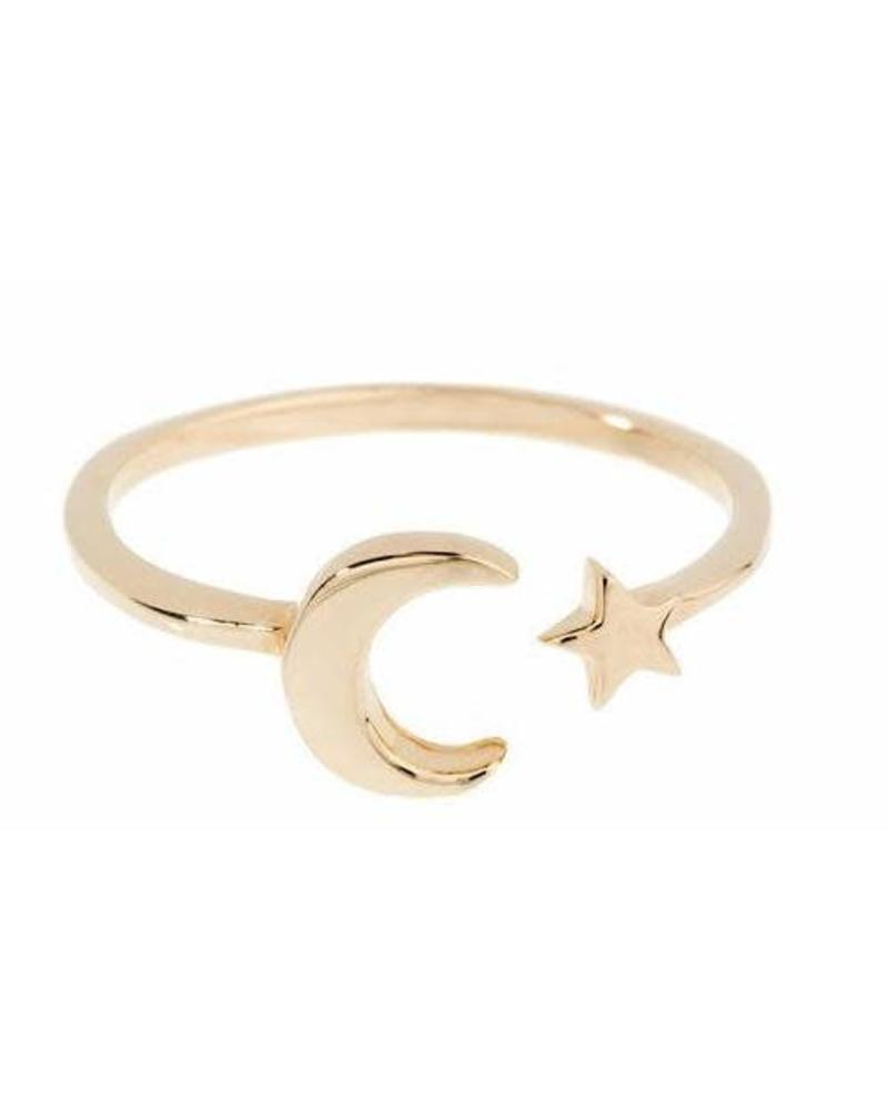 Shashi Moon Star Ring Yellow-Gold Size 7
