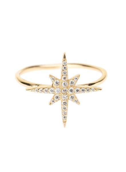 Shashi Inc. Lacey Ring Size 7 Yellow-Gold