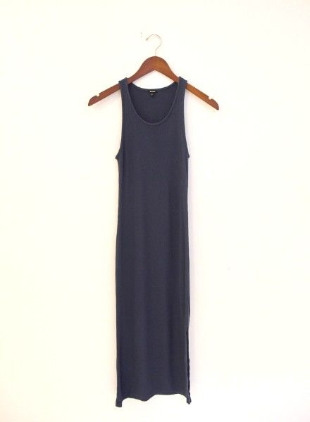 Monrow Rib Tank Dress with Side Slit