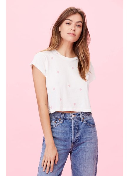 LNA Hearts Crew Neck Crop Tee