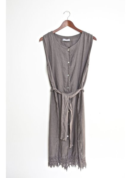 Button Down Sleeveless Linen Dress