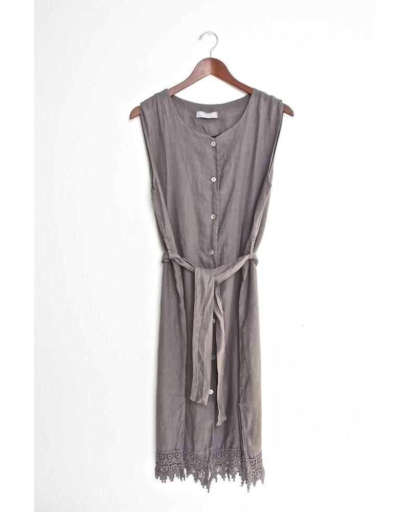 Button Down Sleeveless Linen Dress w/ Belt and Crochet Lace Trim