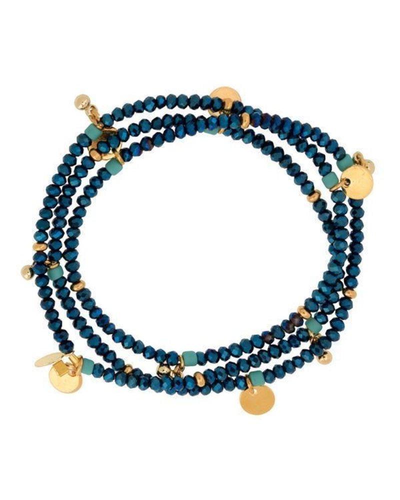 Shashi Eliza Crystal Bracelet Stretch Blue Disco
