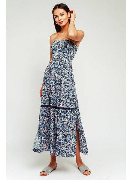 Olivaceous Splash Strapless Maxi Dress