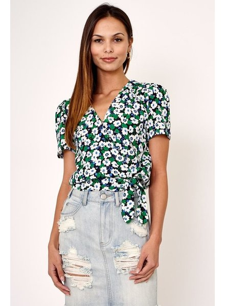 Olivaceous Floral Wrap Top