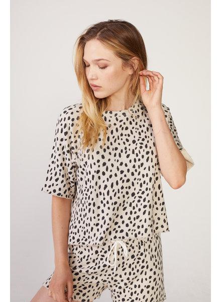 Monrow Cheetah Cut Off Sweatshirt