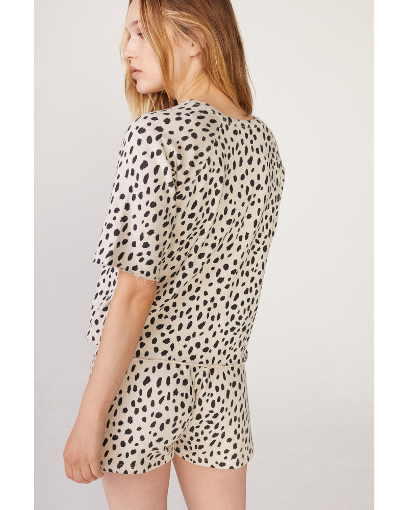 Monrow Cheetah Cut Off Sweatshirt