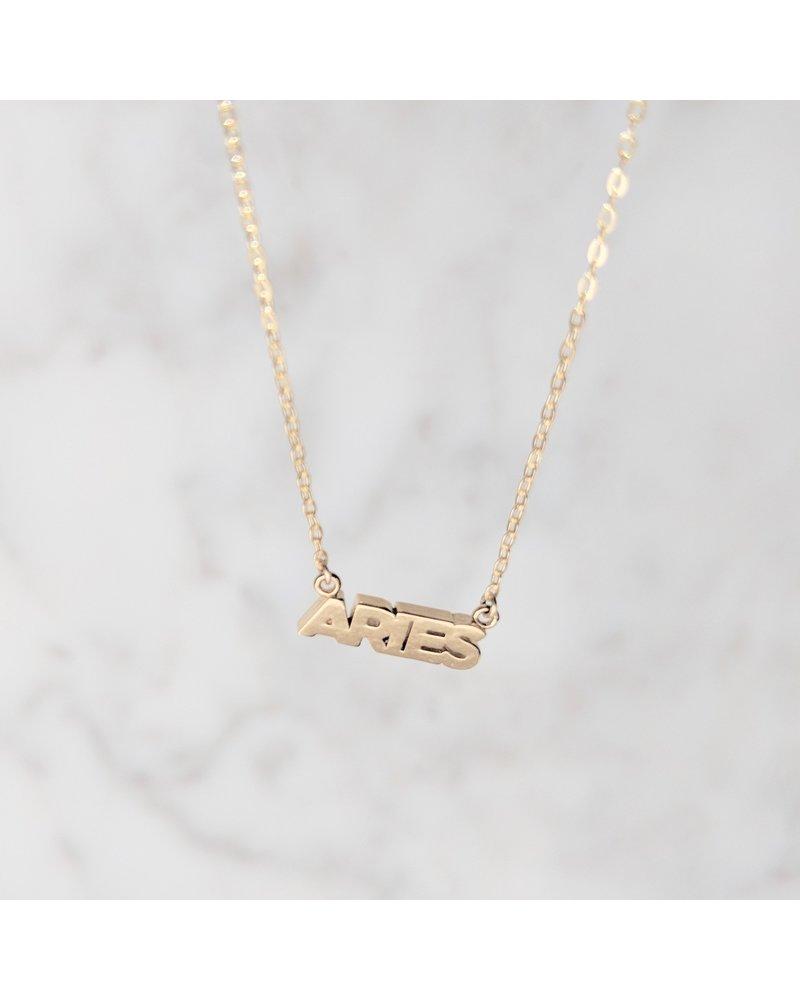 Thatch Zodiac Script Necklace