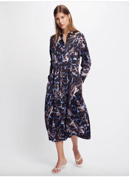 Silk Laundry Long Button Front Shirt Dress