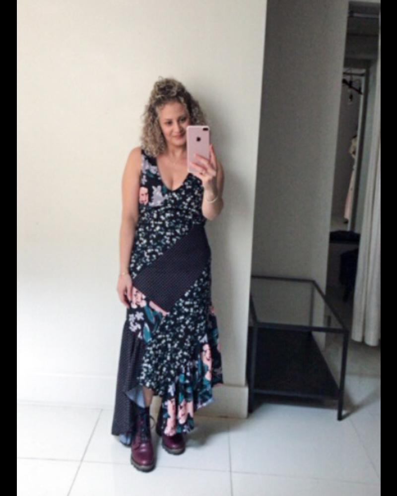 Forest Lily Patchwork Chiffon Dress