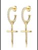 F+H Fleetwood Cross Hoop Earrings
