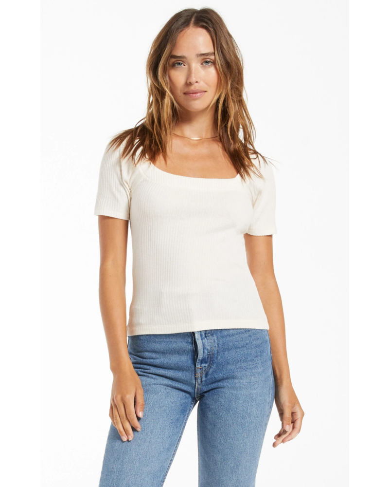 Z Supply Lyla Rib Short Sleeve Top