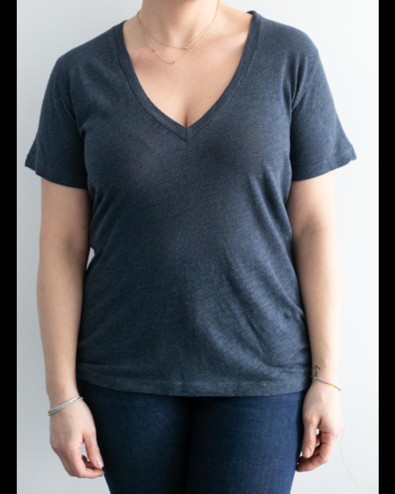 Monrow Granite Jersey V-Neck T-Shirt