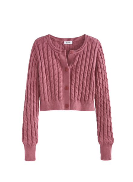 525 America Cropped Cable Cardigan