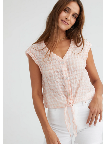 Bella Dahl Roll Sleeve Tie Front Top