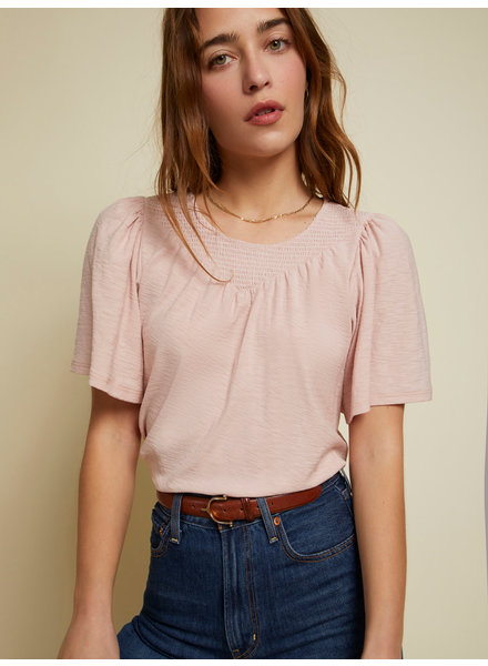Nation Acacia Smocked Flutter Tee