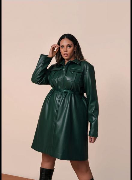 Hilary Macmillan Leather Patch Pocket Shirt Dress