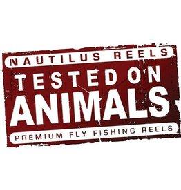 """Nautilus Reels Nautilus Tested On Animals Sticker 4.5"""" x 2.75"""""""