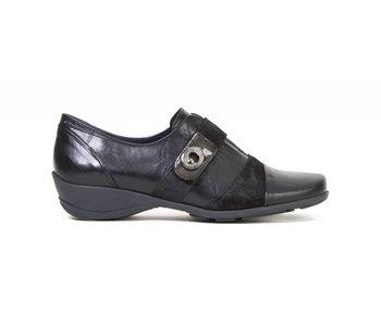 Dorking Agatha Shoe Black/Patent Toe