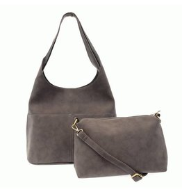 Joy Susan Jenny Faux Suede Handbag Light Grey