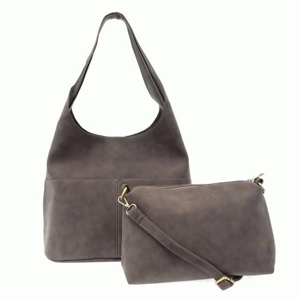 Joy Susan Joy Susan Jenny Faux Suede Handbag Light Grey