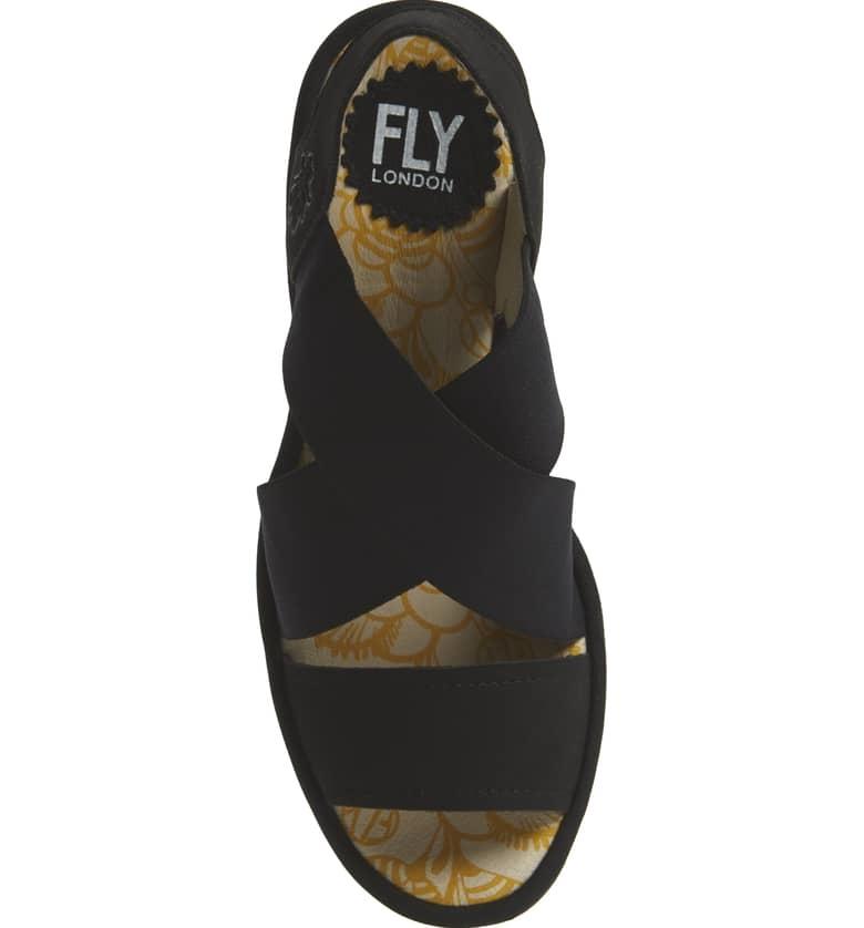 Fly London Fly London Yaji Cross Wedge Sandal Black