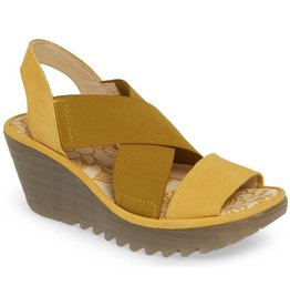 Fly London Yaji Cross Wedge Sandal Yellow
