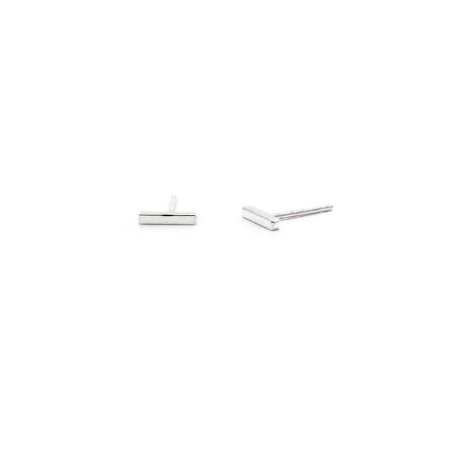 Laughing Sparrow Tiny Silver Bar Studs