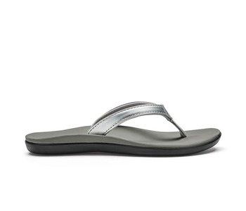 Olukai Girls Ho'Opio Flip Flop Silver/Pale Grey