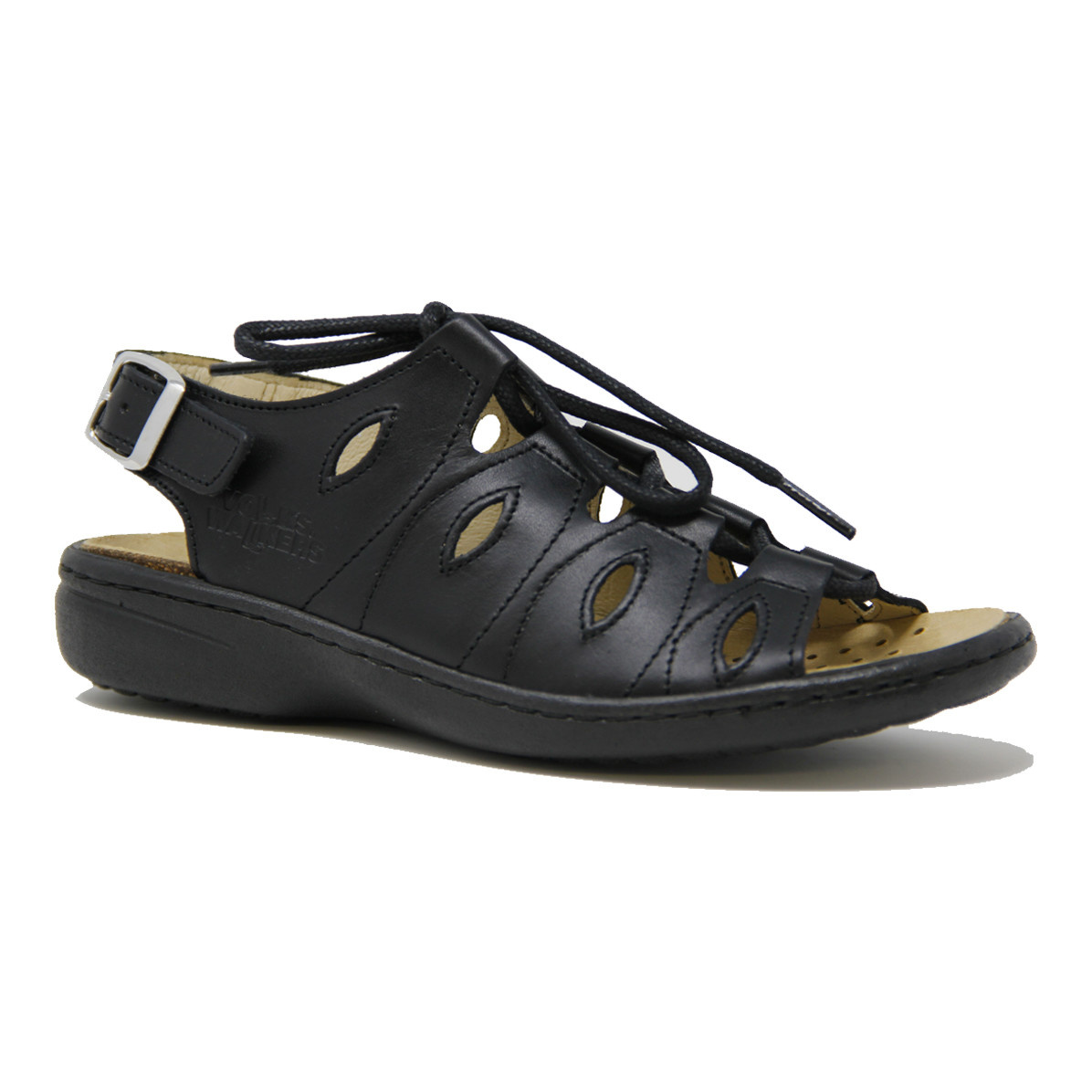 Volks Walker Volks Walkers 04970 Leather Sandal Black