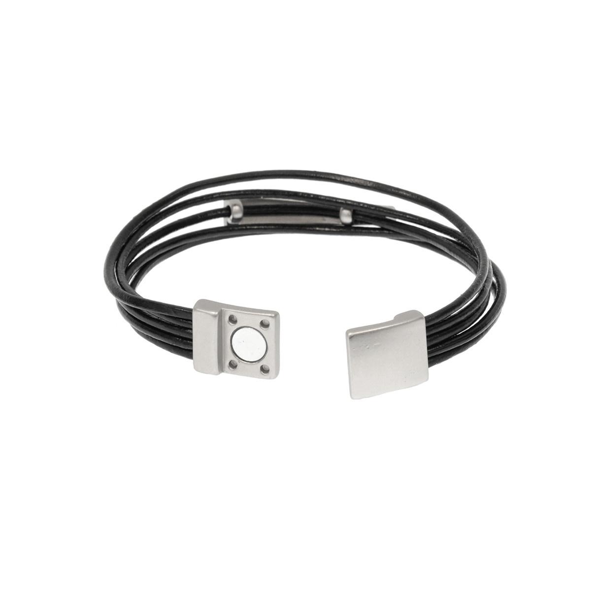 Joy Susan Joy Susan Leather Rhodium Sleek Bar Bracelet Black