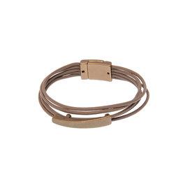 Joy Susan Leather Rhodium Sleek Bar Bracelet Taupe