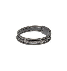 Joy Susan Leather Triple Row Bracelet Grey