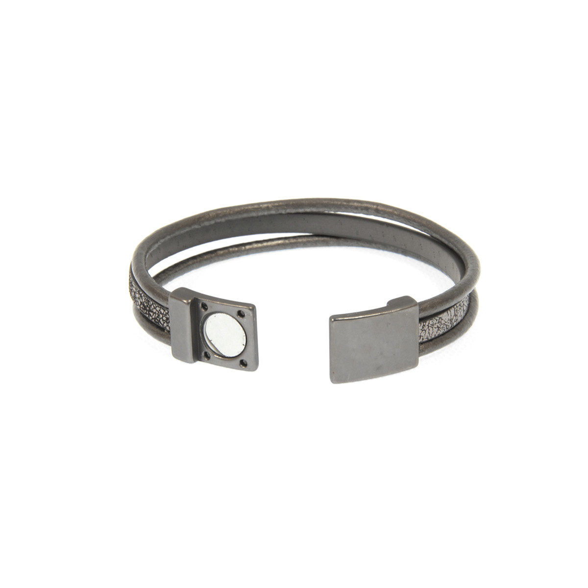 Joy Susan Joy Susan Leather Triple Row Bracelet Grey