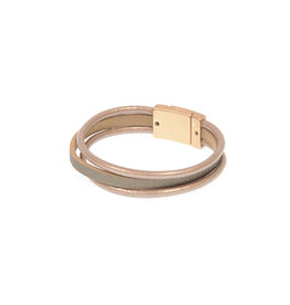 Joy Susan Leather Triple Row Bracelet Taupe