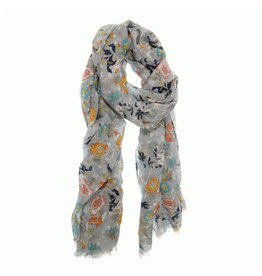 Joy Susan Garden Party Scarf Grey Multi