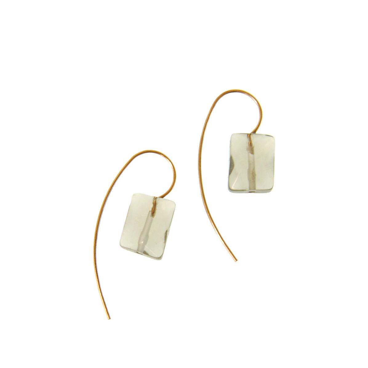 Joy Susan Joy Susan Gold Threader Earrings Grey Stone