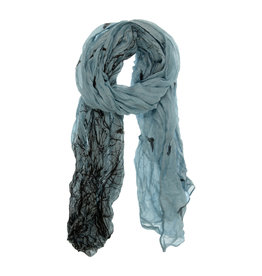 Joy Susan Bird and Tree Scarf Chambray