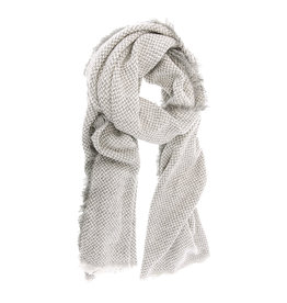 Joy Susan Herringbone Scarf Grey Ivory