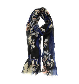 Joy Susan Feathery Bloom Scarf Navy