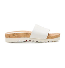 Rollie Sandal Slide Saw Tooth Wedge White